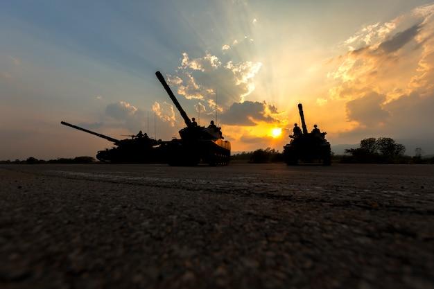 Army tank silhouette Premium Photo