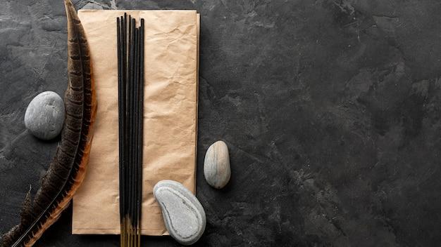 Aromatic incense sticks and water stones Premium Photo