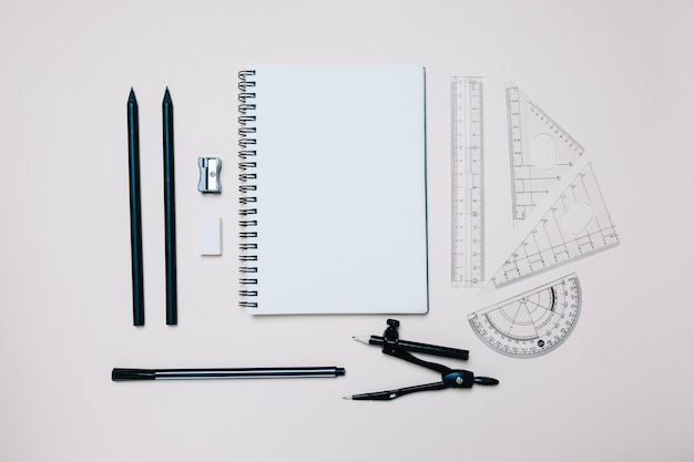 Arranged engineering objects for school Premium Photo