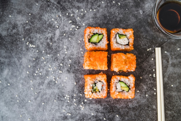 Arranged sushi with copy-space Free Photo