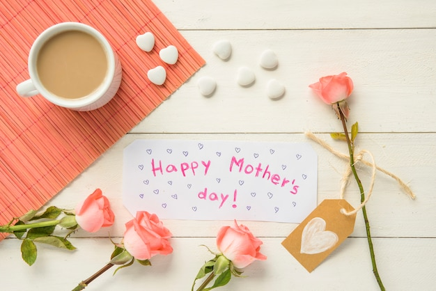 Arrangement of attributes for happy mother`s day Free Photo