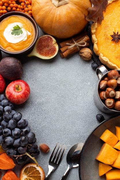 Arrangement of autumn food copy space Free Photo