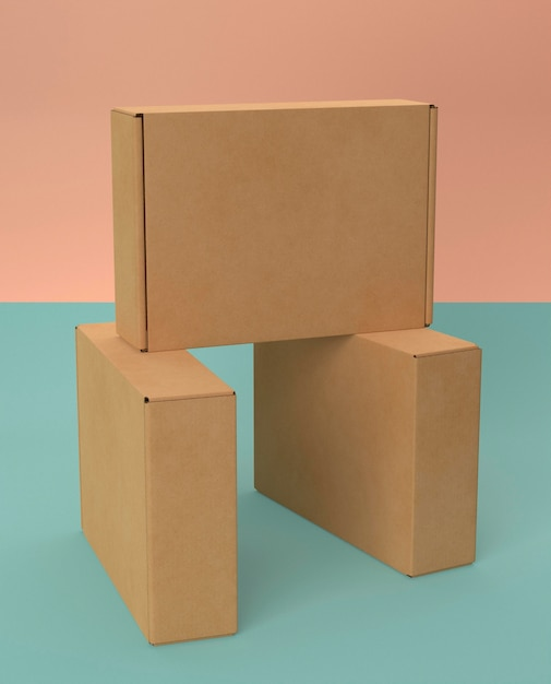 Arrangement brown empty simplistic cardboard boxes Free Photo