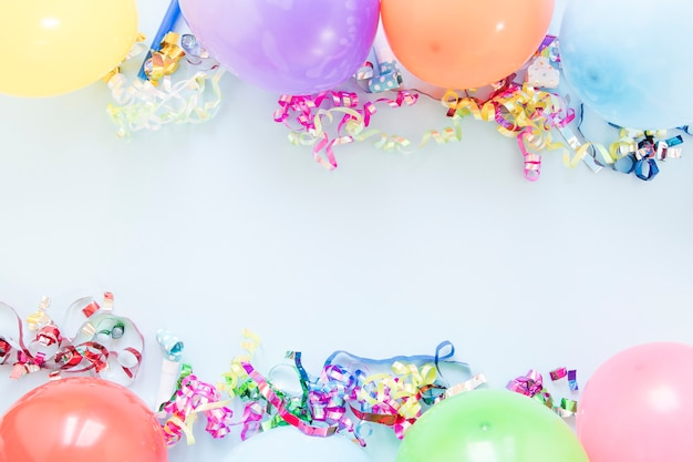 Arrangement of different balloons with copy space Free Photo