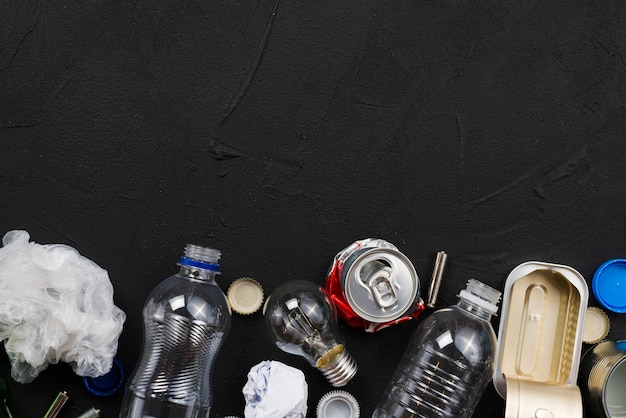 Arrangement of different garbage types Free Photo