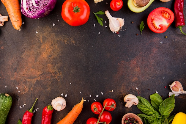 Arrangement of different vegetables with copy space Premium Photo