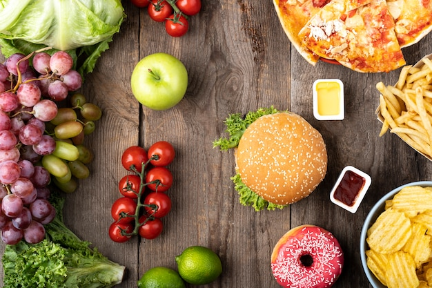 Arrangement of fast and healthy food Free Photo