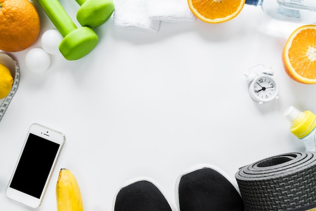 Arrangement of healthy lifestyle objects Free Photo