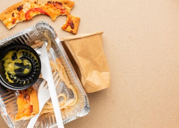 Disposizione dello spazio della copia di cibo sprecato avanzato Foto Gratuite