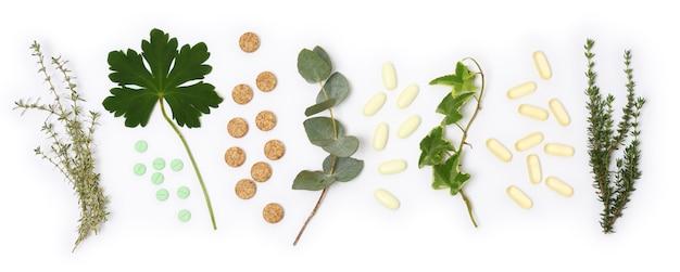 Arrangement of natural pills and plants Premium Photo