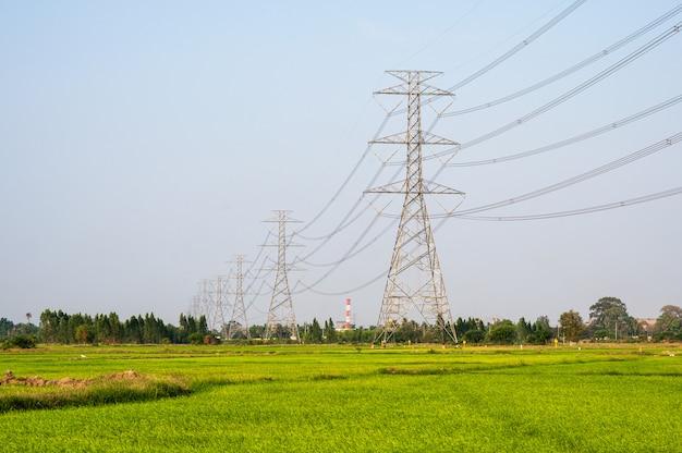 Расположение высоковольтного столба высоковольтной опоры на рисовом поле в сельской местности Premium Фотографии