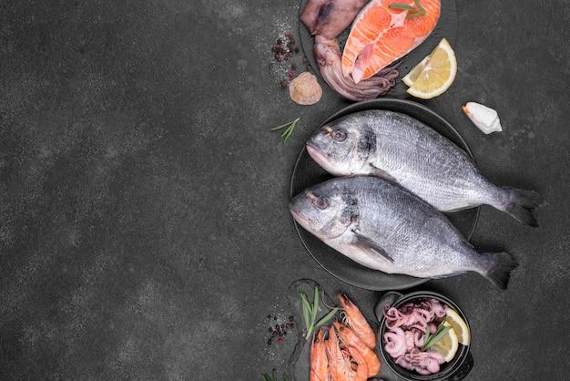 さまざまな種類の魚のフラットレイアウトの配置 無料写真