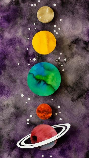 Disposizione dei pianeti e delle stelle di carta Foto Gratuite