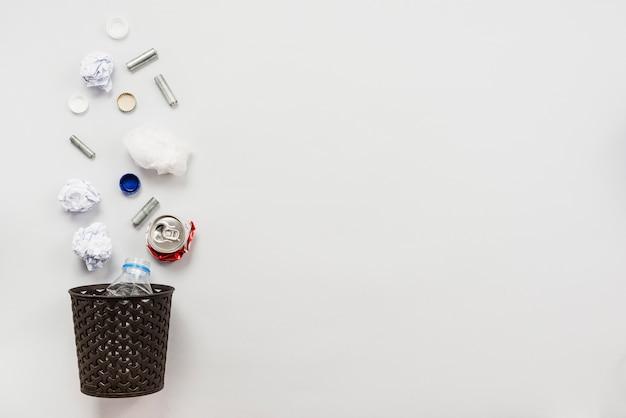 Arrangement of rubbish bin with garbage Free Photo