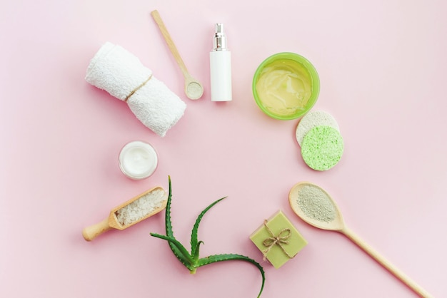 Arrangement of spa body creams and soap top view Free Photo