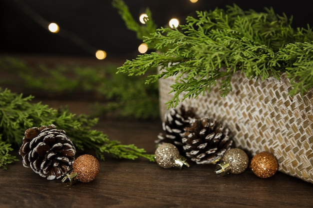 Arrangement with christmas tree twigs and cones Free Photo