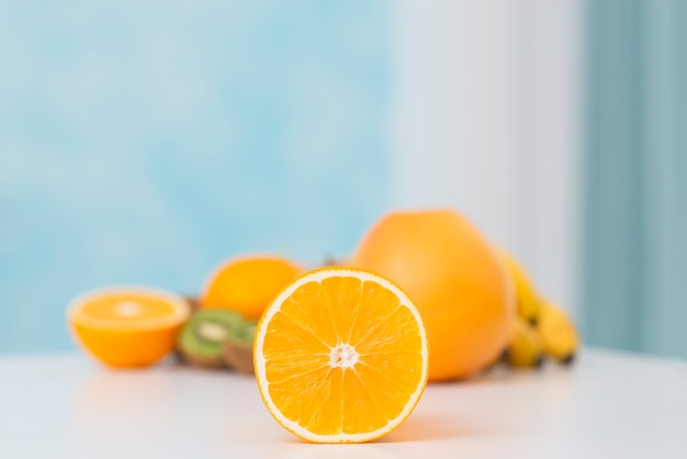 Arrangement with delicious oranges on white table Free Photo