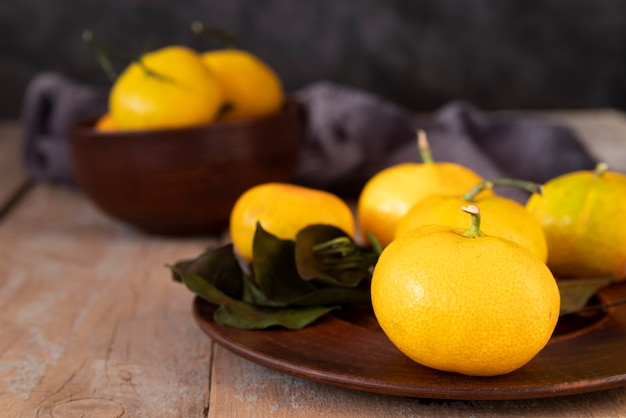Arrangement with quince on wooden background Free Photo