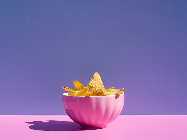 Arrangement with tortilla in a pink bowl Free Photo