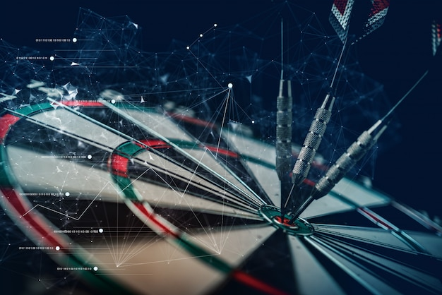Arrow dart board hit taget bull eyes business strategy ideas concept with virtual connecting graphic line double exposure Premium Photo