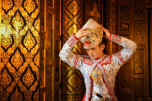 Art culture thailand dancing in masked khon hanuman in literature amayana, thailand culture, khon, thailand traditional culture, thailand Premium Photo