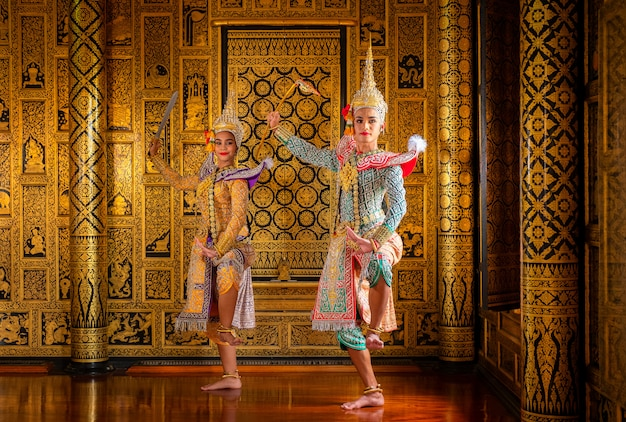 Art culture thailand dancing in masked khon in literature ramayana,thai classical Premium Photo