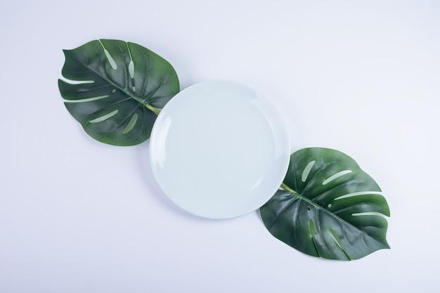 白い表面に人工の緑の葉と白いプレート。 無料写真
