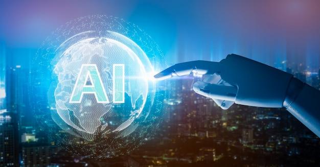 Artificial intelligence , robot finger, robo advisor , big data, robotic future technology and business. Premium Photo