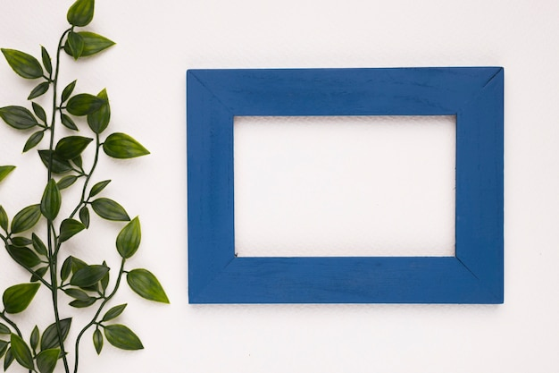An artificial leaves near the blue wooden frame isolated on white background Free Photo
