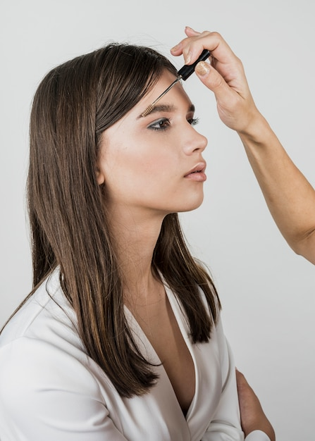Artist applying eyebrow product Free Photo