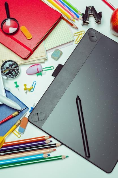 Artist desktop. graphics tablet Premium Photo