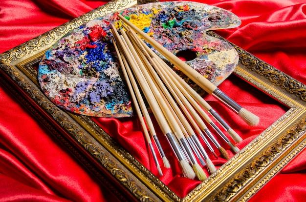 Artist palette in art concept Premium Photo
