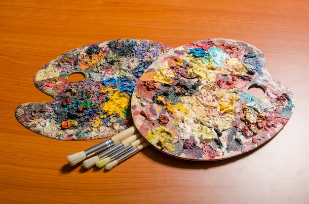 Artist palette in art concept Premium Photo