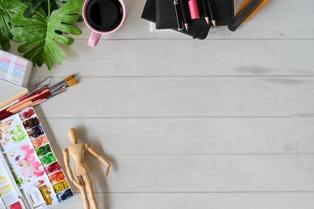 Artist tabletop desk workspace and copy space. Premium Photo