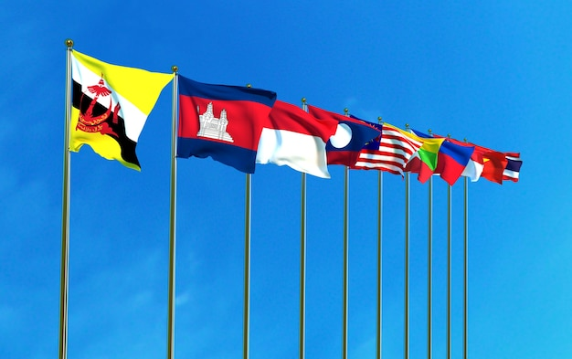 Asean economic community flags on the blue sky background Premium Photo
