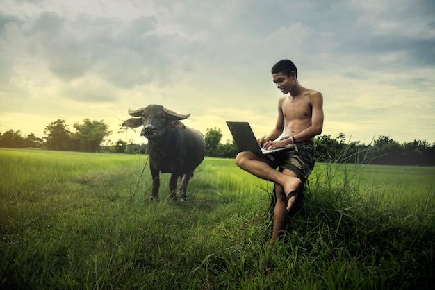 Asian boys studying by online learning with laptop at outdoor, countryside Premium Photo
