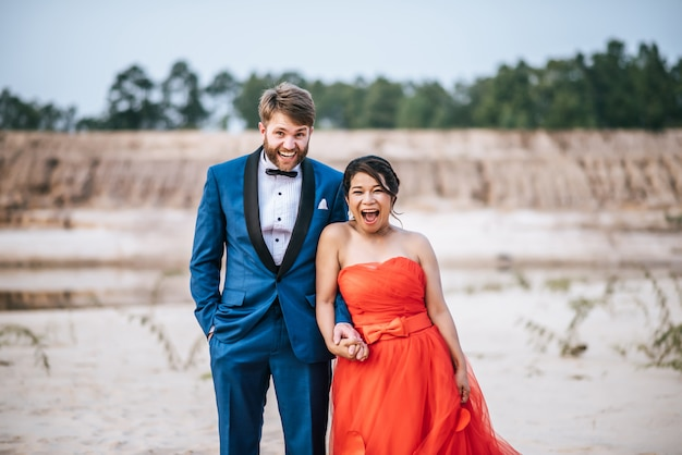 Asian bride and caucasian groom have romance time and happy together Free Photo