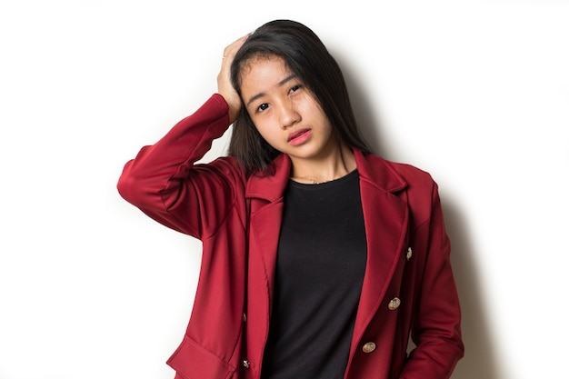 Asian business woman with headache and problems Premium Photo