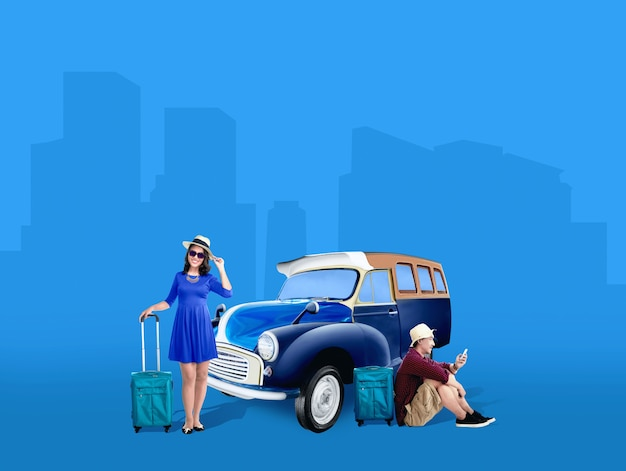 Asian couple in hat with suitcase bag relaxing beside the car Premium Photo
