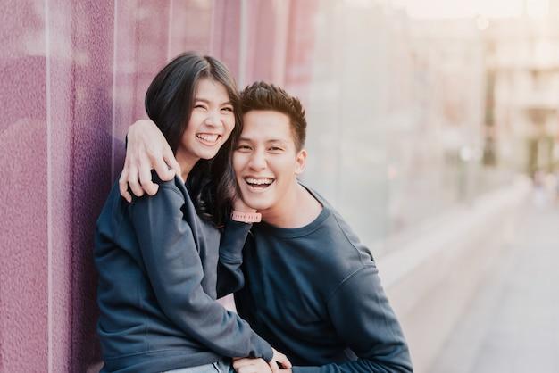 Asian couple in love having fun Premium Photo