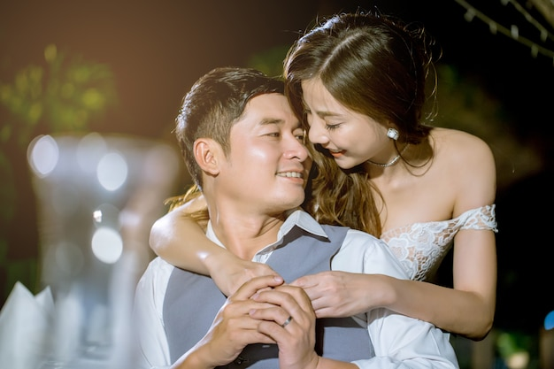 Asian couples smiling together happily Premium Photo