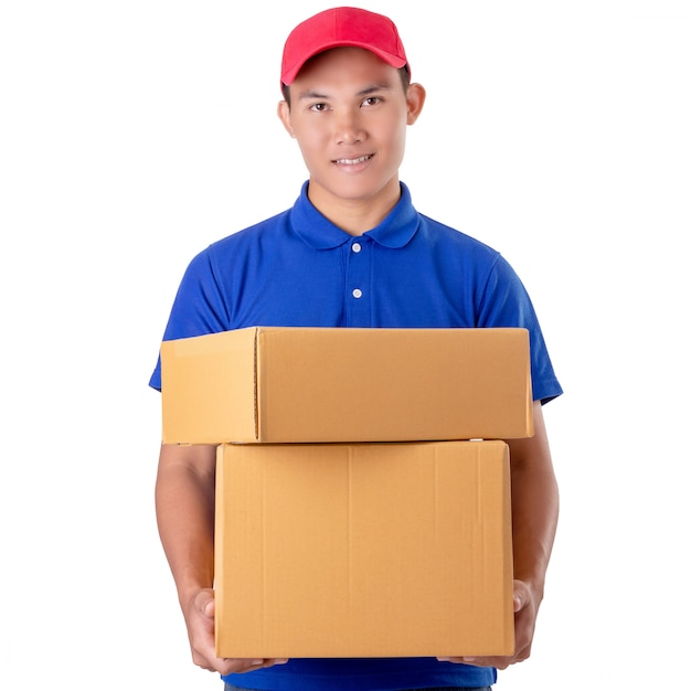Asian delivery man carry brown parcel or cardboard boxes isolated on white Premium Photo