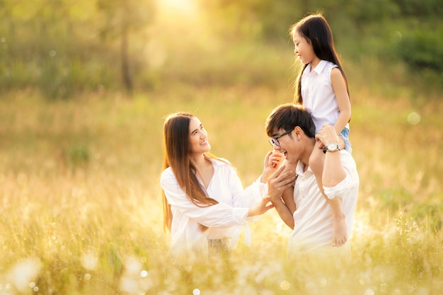 Asian family happy in travel trip Premium Photo