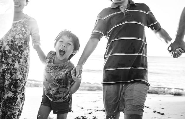 Asian family on vacation Free Photo