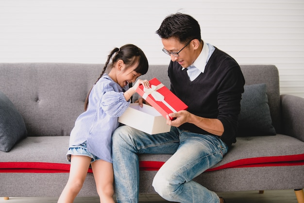 Asian Father Give Present For Daughter Concept Surprise Gift Box