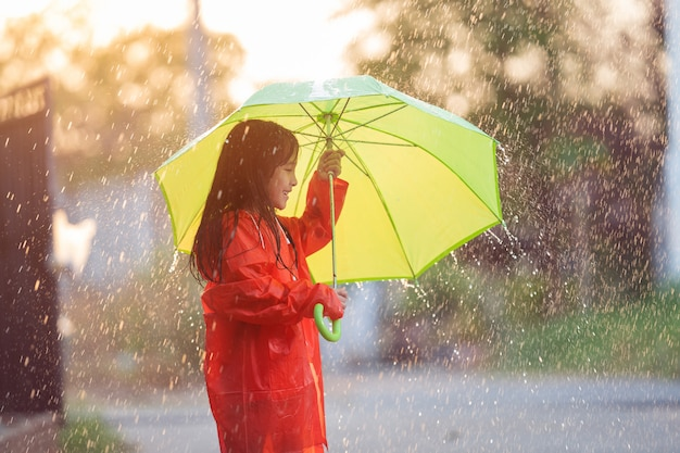 Asian girl opens an umbrella on a rainy day. Free Photo