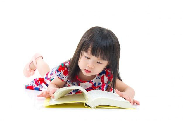 Asian girl reading a book Premium Photo