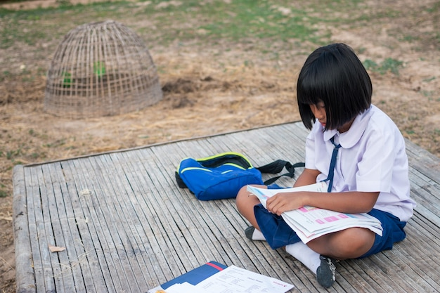 Asian girl student in the countryside Premium Photo
