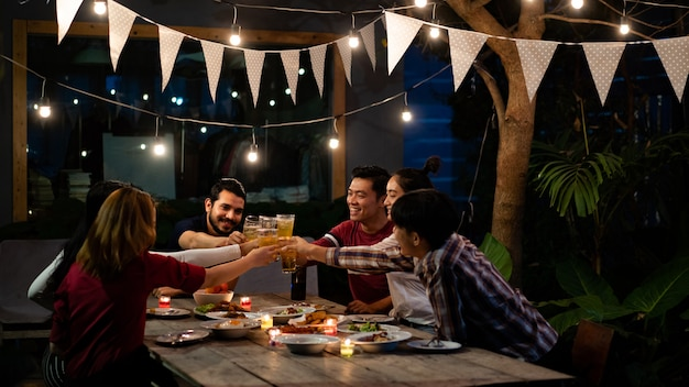 Asian group eating and drinking Premium Photo
