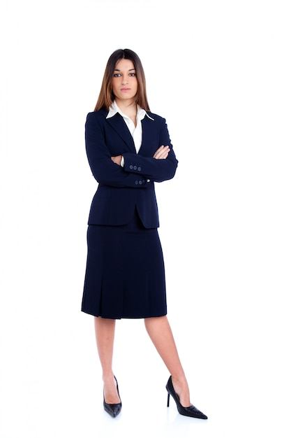 Asian indian business woman full length with blue suit Premium Photo